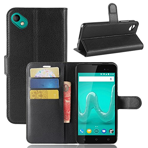 ECENCE Handy-Schutzhülle - Handytasche für Wiko Sunny 2 Plus Schwarz - Smarthone Hülle Cover stoßfest mit Kartenfach - Handycase mit Stand-Funktion 11030106
