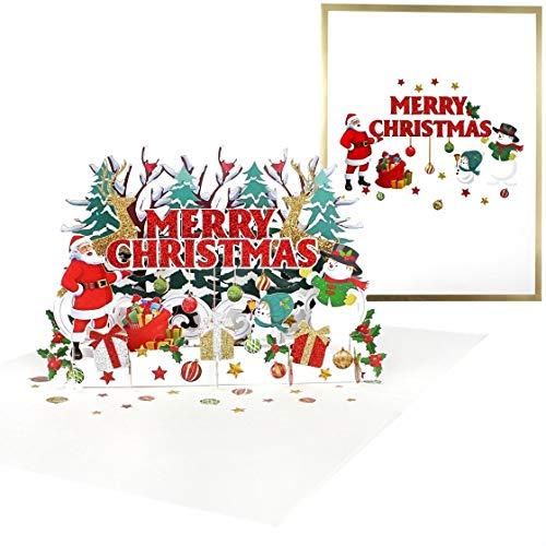 Premium 3D Weihnachtskarte mit Goldprägung [NEU!] – Merry Christmas XXL Pop-up Grußkarte – Weihnachtsmann, Rentier & Schneemann, handgefertigte Geschenkkarte