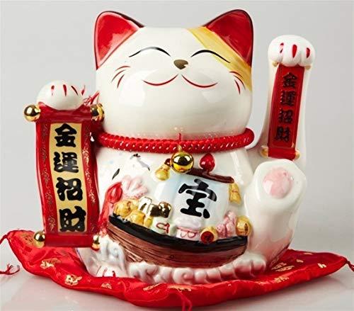 King Boutiques Maneki Neko Moda Maneki Neko de 9 Pulgadas agitando la Mano afortunada del Gato Gato de la Fortuna Contador Display