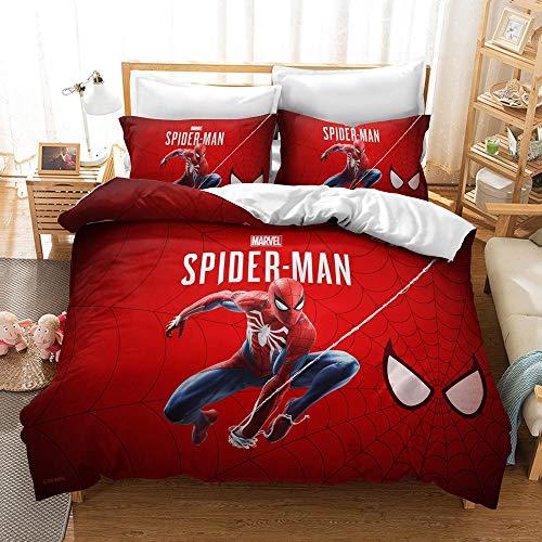 JLKPG Funda de almohada de la funda de almohada de la colcha de anime de Spider-Man 3D de tres piezas, 100% fibra de poliéster, suave y cómodo, jóvenes y mujeres, el mejor regalo de cumpleaños para ni
