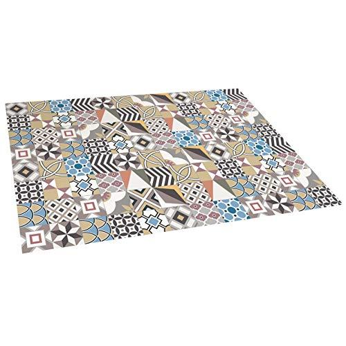 Alfombra vinílica Mosaico, Alfombra de Vinilo Acolchada, Lavable y Antideslizante. Es una Alfombra Ideal para Cocina, salón, dormitorios… (Geom, 120cm x 180cm)