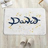 Alfombrilla de baño antideslizante, para baño o ducha,David, diseño de letras dibujadas a mano con nombre masculino , alfombra de suelo absorbente, para sala de estar, sofá, cojín, caucho, 60 x 100 cm