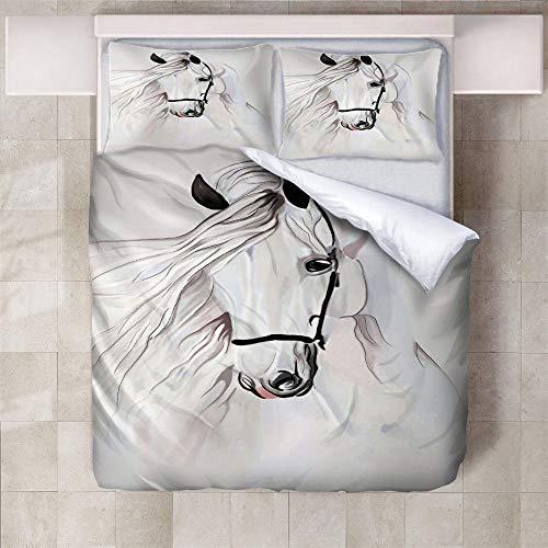 IXGMI Abstract White Horse Bedding, Duvet Cover Set Super King - 3pcs Bedding Set with Zipper Closure, Ultra Soft Microfiber 3D Digital Print Quilt Cover Set 260x220cm