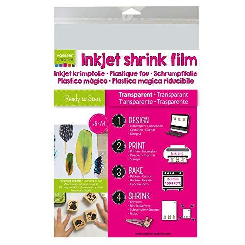 Vaessen Creative Shrink Art Stampabile, Trasparente, 5 Fogli, Formato A4, Stampate Direttamente Design Personalizzati per Progetti Creativi con la Plastica Termoretraibile, 21x29.8x0.3 cm, 4 unità