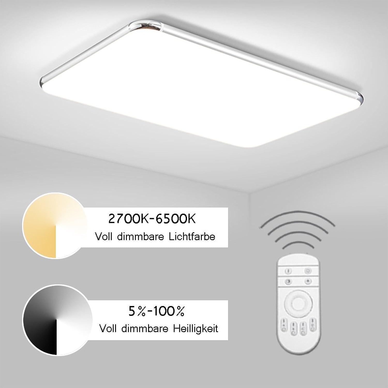 ERWEY Dimmbar LED Deckenleuchte 65x43CM Deckenlampe mit Fernbedienung Designleuchte Wand-Deckenleuchte IP44 Wohnzimmer Kinderzimmer geeignet (Dimmbar Ultraslim, 65x43CM 48W)