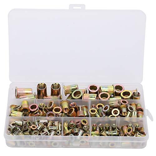 Fafeicy 200 piezas de tuercas de remache de acero al carbono y zinc, M-etric M3/4/5/6/8/10 Kit de surtido de tuercas de remache de extracción de grano vertical para coches, muebles