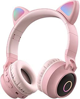 Headphones Headphones Cat Ear Shape with Colorful Breathing Light Wireless Bluetooth Headset Telescopic Head Beam Comes with Microphone Audio Cable and Adapter (Color : Pink)