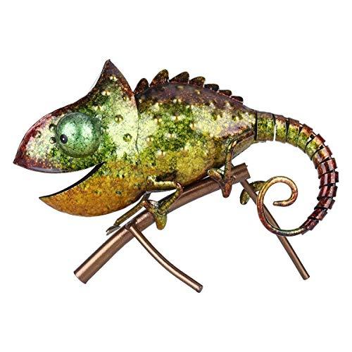 GCE Escultura de camaleón Escultura de camaleón Mobiliario de Animales de Hierro Estilo de Animal Salvaje Decoración Interior o Exterior Amantes del camaleón y rsquo;Regalo Verde