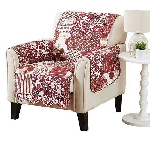 Patchwork Scalloped Printed Furniture Protector. Stain Resistant Chair Cover. (Chair, Burgundy)