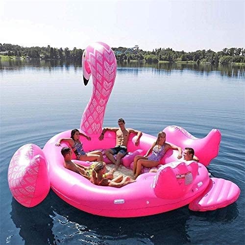Flotador de flamenco gigante inflable de lujo para fiestas de natación de aves de la isla de juguete flotante del barco Lounge 197 x 174 x 97 un paseo para 6 personas, verano adulto niño iteración