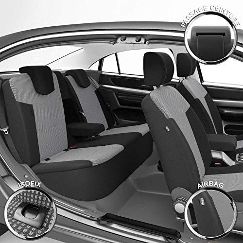 DBS - Housses de siège sur Mesure pour Qashqai (03/2007 à 03/2014) | Housse Voiture/Auto d'intérieur | Haut de Gamme | Jeu Complet en Tissu | Montage Rapide