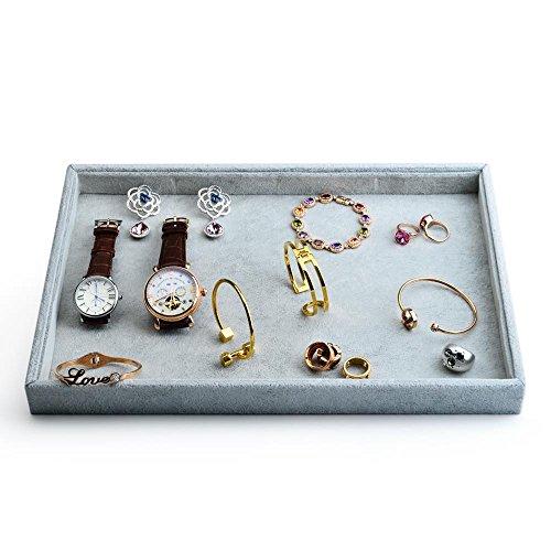 Oirlv Velvet Stackable Jewelry Trays Grids Rings Earrings Bracelet Watch Showcase Display Tray