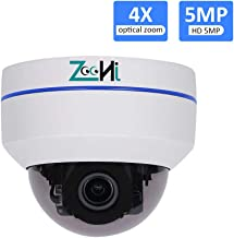 5MP PTZ POE Dome Camera with Audio, Security IP Camera Indoor and Outdoor, Mini Dome Surveillance Camera, Built-in Microphone, 4X Optical Zoom High Speed H.265, IP66 Waterproof IR Night Vision