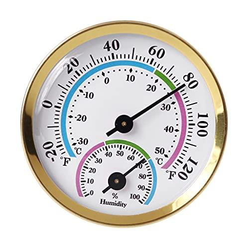YUZI Termómetro para Interiores y Exteriores Higrómetro Dorado 2 en 1 Medidor de Temperatura y Humedad Higrómetro analógico para Interior, Oficina, hogar