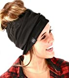 Women's Slouchy Beanie with Hole (Black)