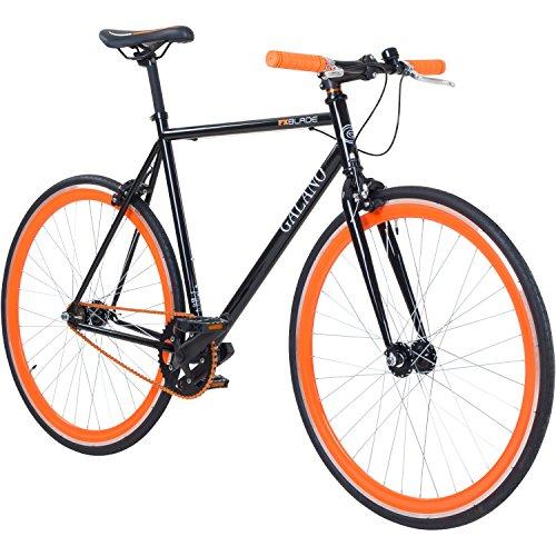 Galano 700C 28 Zoll Fixie Singlespeed Bike Blade 5 Farben zur Auswahl, Rahmengrösse:53 cm, Farbe:Schwarz/Orange