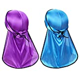Silky Durag Headwraps (2PCS) with Extra Long Tail and Wide Straps for 360 Waves