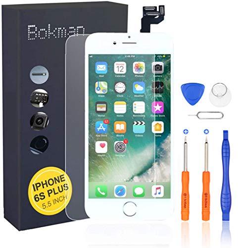 Bokman LCD Pantalla para iPhone 6s Plus Reemplazo de Pantalla LCD con Botón de Inicio, Cámara Frontal, Sensor Flex, Altavoz Auricular y Herramientas de Reparación(Blanco)