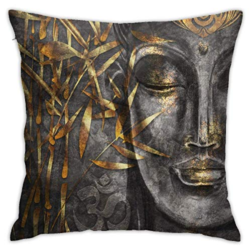 POUDBDH Gold Bodhisattva Buddha Decorative Throw Pillow Cover Without Inserts Cushion Case for Home Sofa Bedroom Car Chair House Party Indoor Outdoor 18 X 18 Inch 45 X 45 cm