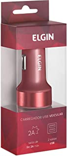 Carregador de Celular, Elgin, Veicular, Entrada 12v, 2 Saídas, Vermelho