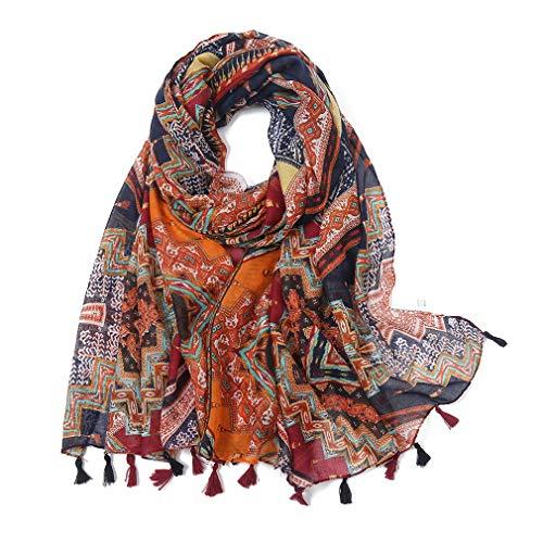 KAVINGKALY Bufandas con estilo para mujer Bufandas ligeras con flecos Boho de moda (Floral A)