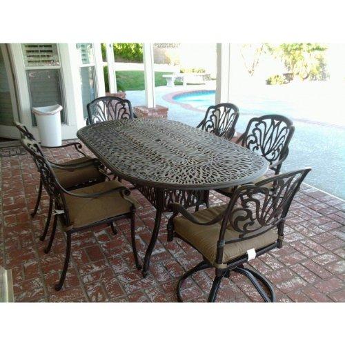 Heritage Outdoor Living Elisabeth Cast Aluminum 7pc Outdoor Patio Dining Set w/ 42' X 72' Oval Table - Antique Bronze