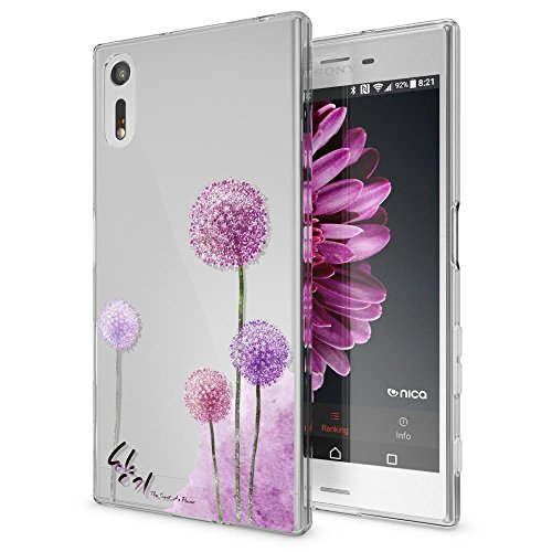 NALIA Handyhülle kompatibel mit Sony Xperia XZ, Slim Silikon Motiv Hülle Phone Cover Crystal Schutzhülle Dünn Durchsichtig, Etui Handy-Tasche Transparent Backcover Bumper, Designs:Dandelion Pink