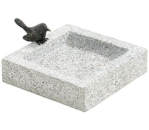 Dehner Vogeltränke mit Vogel, ca. 25 x 25 x 10 cm, 8 kg, Granit, grau