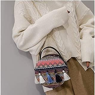 HAWEEL Anti-Theft Classic Retro Messenger Travel Bohemian Tassel Single Shoulder Bag Ladies Small Round Bag Messenger Bag Handbag (Purple) Sling Crossbody Mini Purse One Size