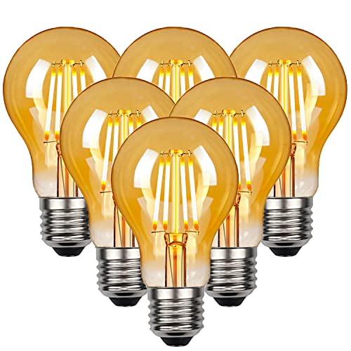Edison Vintage Glühbirne, Edison LED Lampe Warmweiß E27 4W 2700K A60 Retro Glühbirne Vintage Antike Glühbirne 470 LM Ideal für Nostalgie und Retro Beleuchtung im Haus Café Bar usw - 6 Stück