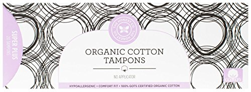 Honest Organic Cotton Tampons with No Applicator, Super Plus, 20 Count