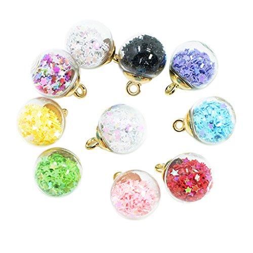 Sharplace 10 Estilo Coreano Bola de Cristal Encantos de Estrella Collar de Pendientes de Joyería DIY
