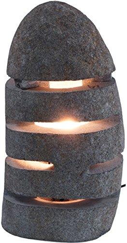 Guru-Shop Tischlampe/Tischleuchte Rivera - in Bali Handgemacht aus Naturstein, 28x20x15 cm, Dekolampe Stimmungsleuchte
