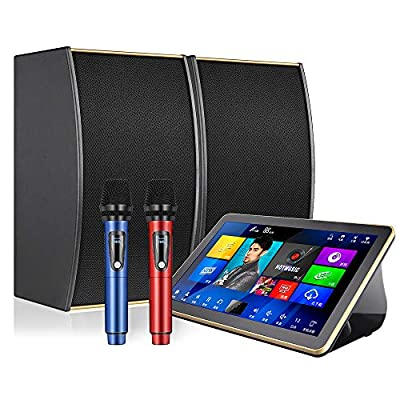 Karaoke Player Machine, InAndOn One-piece KTV Karaoke Player 18.5 inch 4K Touch Screen with Speakers and Microphones Home Entertainment System Songs Movie Free Cloud Download AI Function White