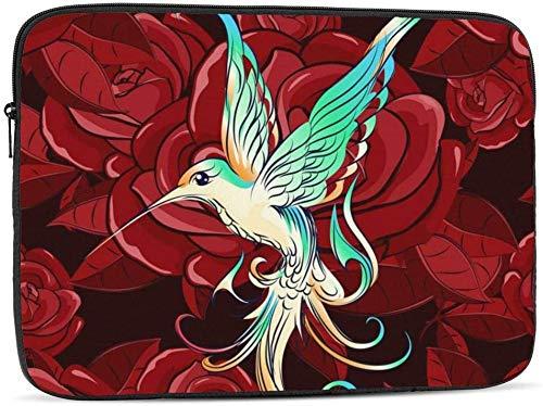 BONRI Funda para portátil Hummingbird and Red Rose compatible con estuche para portátil de 10-17 pulgadas Cute Computer Bag - Hummingbird y rosa roja, 13 pulgadas