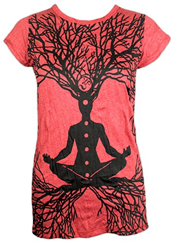Sure Clothing Camiseta Mujer Wicca - Gurú del Arte Talla M L XL Natural Budismo Yoga Boho Namaste Buda Magia Bruja (L, Rojo)