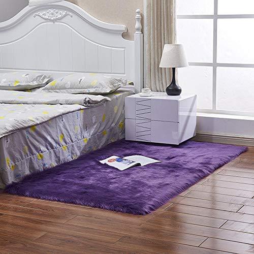 JXRUGS Vorleger Künstliche Wolle Teppich Plüsch Einfach Teppich Anti-Rutsch Bequeme Kissen-Auflage Für Hauptdekoration Schlafzimmer Decke F-60 * 60cm