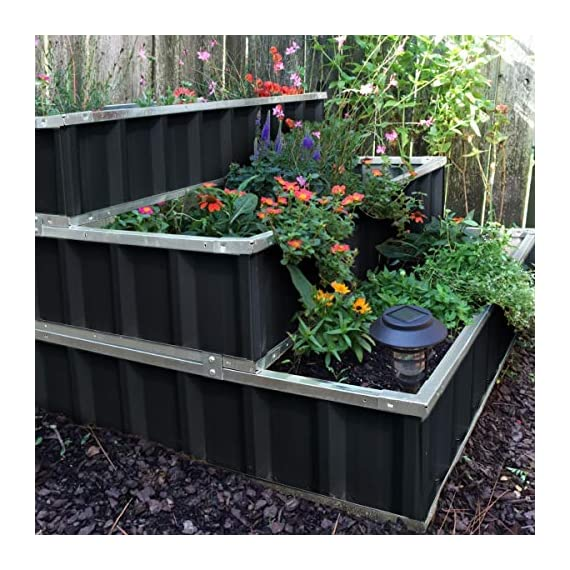 KING BIRD 3 Tiers Raised Garden Bed Dismountable Frame Galvanized Steel Metal Patio Garden Elevated Planter Box 46''x46… 6 【Use it as 3 Individual Raised Bed】--- Each tier is connected by the fastener connectors, and you can take the connectors down to make the whole raised bed to 3 individual raised garden bed and get more cultivated area. Or used as 3 tiers raised bed to plant 3 different needs plants. Capacity 21 Cu Ft of Soil 【THREE YEARS WARRANTY】--- The most wonderful design of our KING BIRD raised garden bed is not only about the convenient and fast installation without tools, also for its smart design to vastly increase the loading ability and capacity. THREE YEARS WARRANTY for the whole raised bed. 【Multilayer Galvanized Paint】--- Upgraded multilayer galvanized paint efficiently prevents rust and continues to beauty; also never worry about that the rain damage the wood garden bed; galvanized steel garden bed provides a lasting use and no discoloration. No painting inside, no worries about the damage for plants.