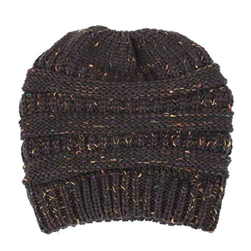 UKKD Wintermütze Damen High Bun Ponytail Beanie Hat Chunky Weiche Stretchkabel...