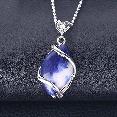 Collares Con Colgantes De Piedra Para Mujer,7 Chakra Señoras Cristal Semiprecioso Natural Ahueca Hacia Fuera El Modelado De Diamantes Collar De Moda De Cristal Azul Regalo Para El Día De Cumpleañ