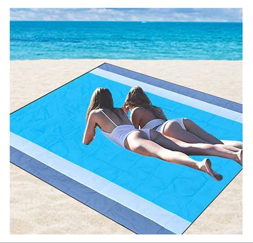 QAZW Manta Impermeable Sin Arena de Playa Portátil, Alfombrilla de Secado Rápido Compacta, Liviana y de Gran Tamaño para Picnic Al Aire Libre, Viaje, Cámping, Senderismo, Playa,Blue