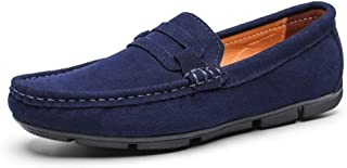 QinMei Zhou Fashion Suede Penny Loafers for Men Lightweight Breathable Dress Wedding Casual Shoes Anti-Slip Flat Slip-on Round Toe (Color : Blue, Size : 10 UK)