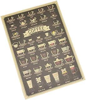ملصق حائط لغرفة المعيشة من قطعة واحدة مرسومًا عليها فناجين قهوة مختلفة اكسسوارات من ورق كرافت ذي لون بني