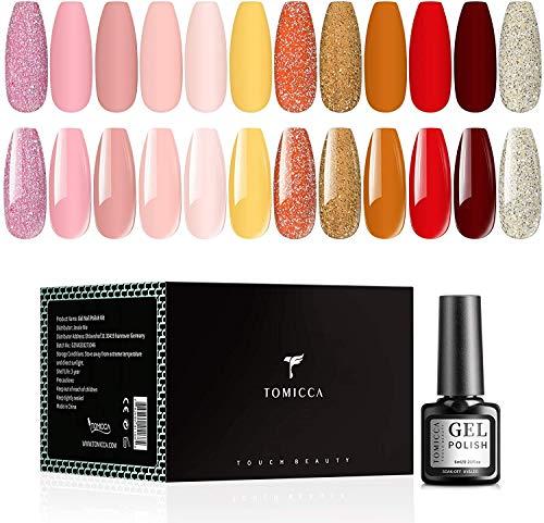 TOMICCA 12 Farben Gel Nagellack Set, 6ml Babyboomer Nude Glitzer Rosa Aprikose Rot UV Nagellack, Basis und Decklack Gel Lack Set