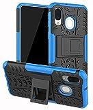 Yiakeng Funda Samsung Galaxy A40 Carcasa, Doble Capa Silicona a Prueba de Choques Soltar Protector con Kickstand Case para Samsung Galaxy A40 (Azul)
