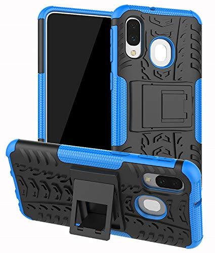 Yiakeng Samsung Galaxy A40 Cover, Doppio Strato Silicone Antiurto Far Cadere Protezione con Kickstand Custodia per Samsung Galaxy A40 (Blu)
