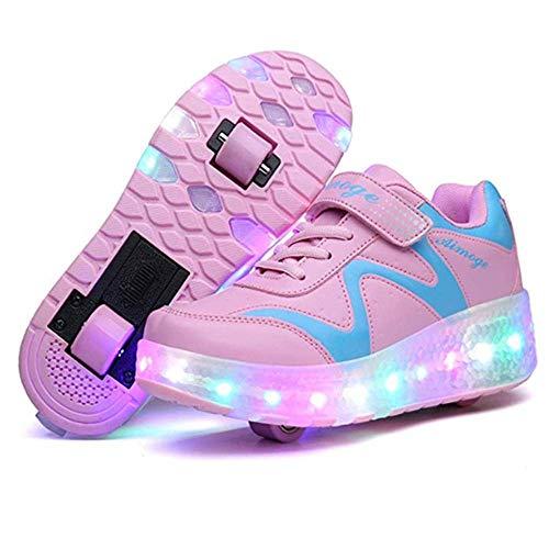IDE Play Unisex Mädchen Fitness-Schuhe, Heelies LED-Licht-Turnschuhe mit Doppel zweirädrige Jungen-Mädchen-Rollen-Skate-Freizeitschuh-Jungen-Liebhaber Mädchen,Rosa,40
