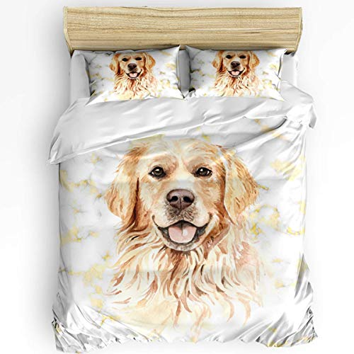 JONINOT 3-Piece Bedding Set Twin Size 86'x70' Golden Retriever (Marble Pattern) Soft Comfy Lightweight Quilt Cover Pillowcases