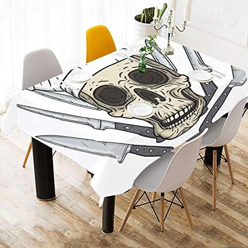 Yushg Cartoon Schädel Toque Messer Benutzerdefinierte Baumwolle Leinen Gedruckt Platz Fleckenbeständig Tischwäsche Tuch Abdeckung Tischdecke Für Küche Home Dining Room Tabletop Decor 60x84 Zoll