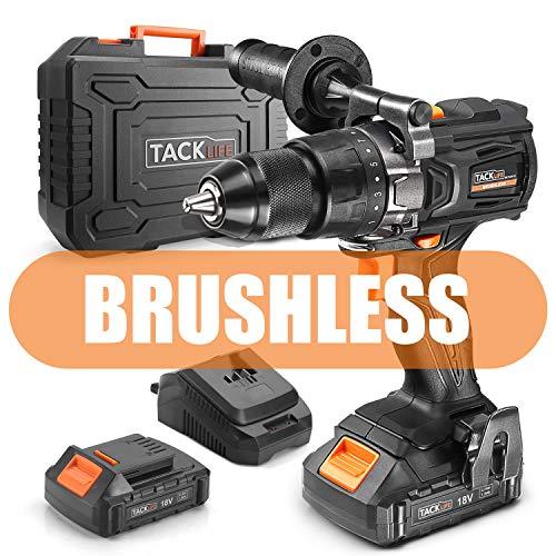 TACKLIFE Avvitatore elettrico 18V Brushless Trapano Elettrico con Percussione,2 Batterie al Litio 2.0Ah,20+3 Coppie Max 65N.m,BLPCD02B